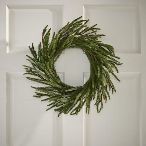 "Naylor Indoor 18"" Artificial Cypress Wreath by Christopher Knight Home - Green"
