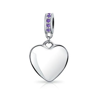 Bling Jewelry Imitation Amethyst Crystal Heart Shaped Dangle Bead Charm .925 Sterling Silver
