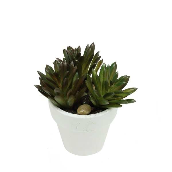 "4"" Decorative Artificial Green and Red Spring Succulent in a Round White Pot with Stones"