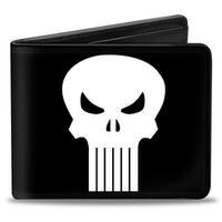 Marvel Universe Punisher Logo Black White Bi Fold Wallet - One Size Fits most