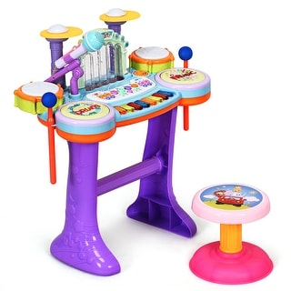 Costway 3 in 1 Kids Musical Instrument Piano Keyboard Drum Set w/ Music Fountain & Stool - as the picture shows