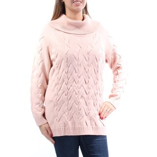 CALVIN KLEIN Womens New 1140 Pink Knitted Turtle Neck Long Sleeve Sweater L B+B