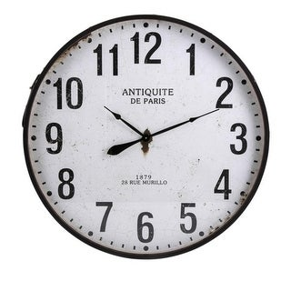"36.25"" Industrial Style Whitewashed and Distressed Black Iron Wall Clock"