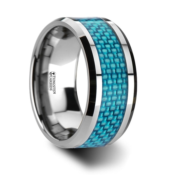 Augustus Extra Wide Tungsten Carbide Ring With Light Blue Carbon Fiber Inlay