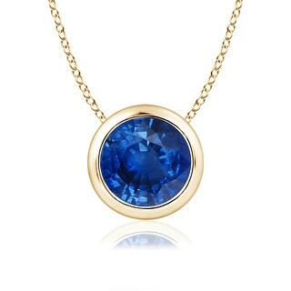 Angara Bezel Set Round Blue Sapphire Solitaire Pendant