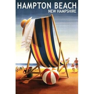 Hampton Beach NH Beach Chair and Ball - LP Artwork (100% Canvas Tote Bag Gusset