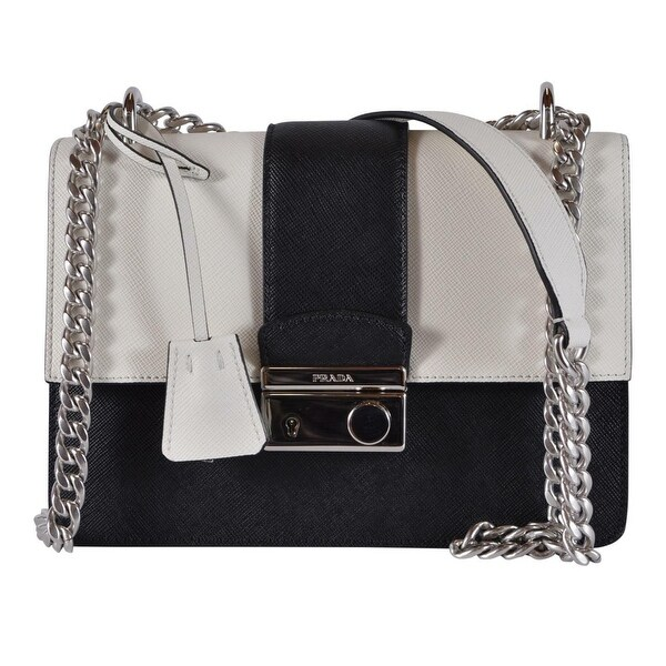 d01de1a0dee7 Prada 1BD034 Black Cream Colorblock Saffiano Leather Lux Crossbody Purse -  Black/White. Click to Zoom