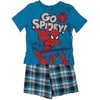 "Marvel Little Boys Blue ""Go Spidey"" Printed Tee Plaid 2 Pc Shorts Set"