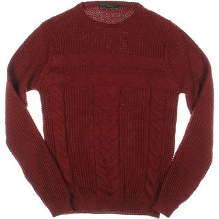 Zara Mens Wool Blend Cable Knit Pullover Sweater - S