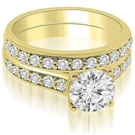 1.10 cttw. 14K Yellow Gold Cathedral Round Cut Diamond Bridal Set