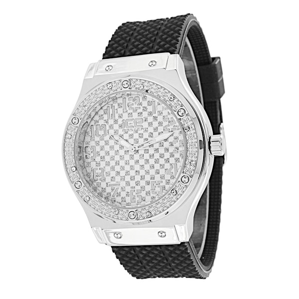 Lab Diamond Watch Silver Tone Stainless Steel Back Rubber Band 46 MM