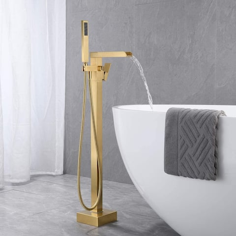 Proox Bathroom Waterfall Tub Filler w/ Hand Shower Faucet
