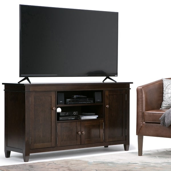 WYNDENHALL Sterling SOLID WOOD 54 inch Wide Contemporary TV Media Stand For TVs up to 60 inches. Opens flyout.