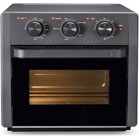 Global Pronex 19 Quart Air Fryer Toaster Oven, 5-IN-1 Countertop Convection Oven w/ Rotisserie,Grey