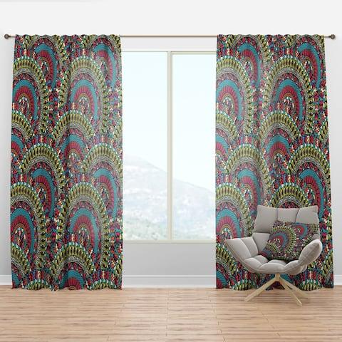 Designart 'Colorful Ethnicity Round Ornament' Bohemian & Eclectic Curtain Panel