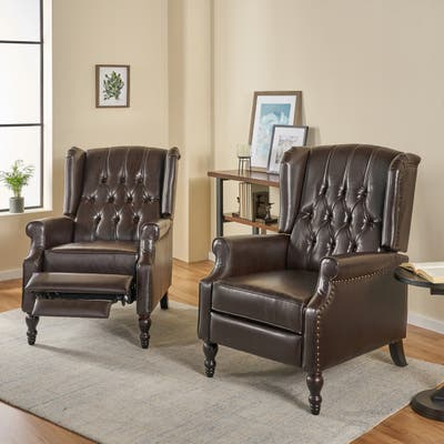 Walter Tufted Bonded Leather Recliner (Set of 2) by Christopher Knight Home