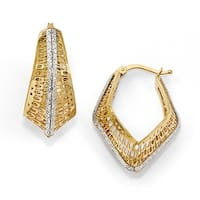 Italian 14k Two-Tone Gold Polished and Textured Hoop Earrings