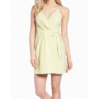 ASTR Yellow Women's Size Small S Surplice Halter-Tie Wrap Dress