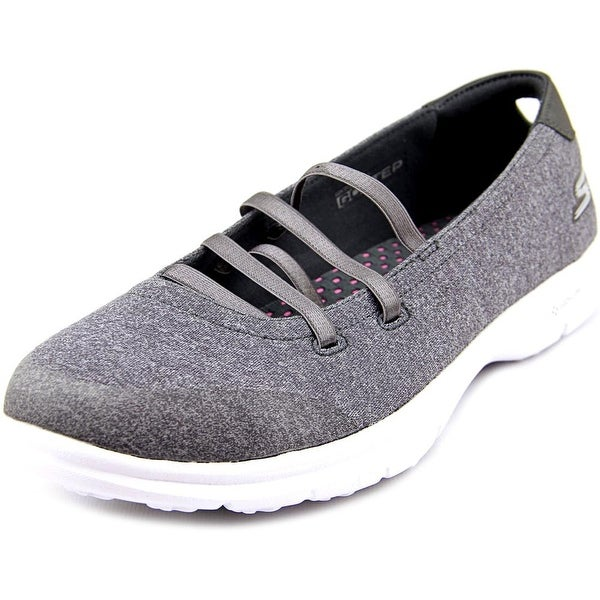 Skechers Go Step Pose Mary Jane Women Round Toe Canvas Gray Walking Shoe