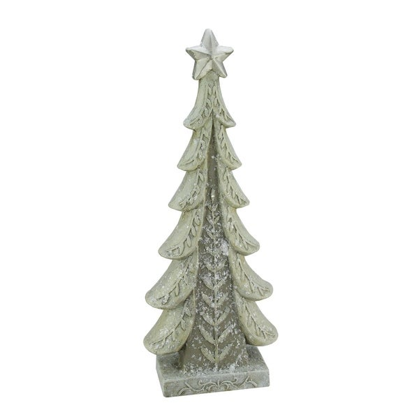 "20.25"" Vintage Inspired Distressed Cream and Taupe Christmas Tree Table Top Decoration - brown"