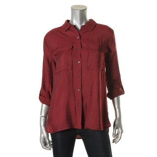 Two by Vince Camuto Womens Button-Down Top Utility Long Sleeves - s