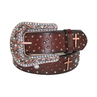 Roper Women's Leather Removable Buckle Belt with Copper Crosses - Brown