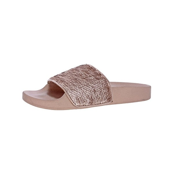 4e0766ced59f Steve Madden Womens Softey-S Slide Sandals Sequined Flat - 9 Medium (B