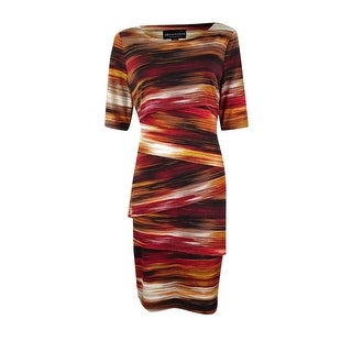 Connected Women's Printed Tiered Jersey Dress - Rust