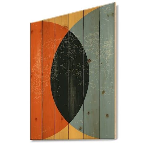 Designart 'Minimal Geometric Compostions Of Elementary Forms XXIV' Modern Print on Natural Pine Wood
