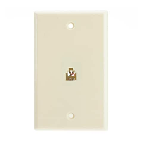 Offex 2 Line Telephone Wall Plate, Beige/Ivory, RJ11, 4 Conductor
