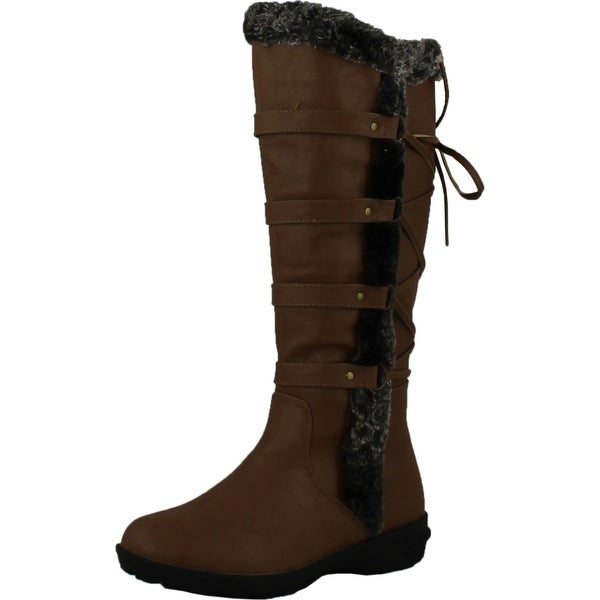 Forever Aura-42 Womens Back Lace Up Knee High Boots Winter Boots
