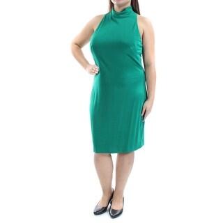 RALPH LAUREN $164 Womens New 1251 Green Halter Sleeveless Sheath Dress 16 B+B
