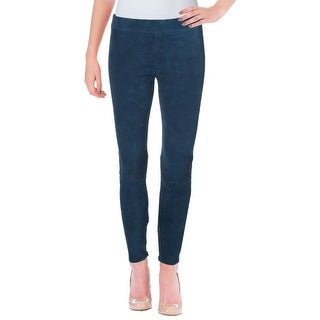 Vince Womens Ankle Pants Stretch Suede Zip Ankles