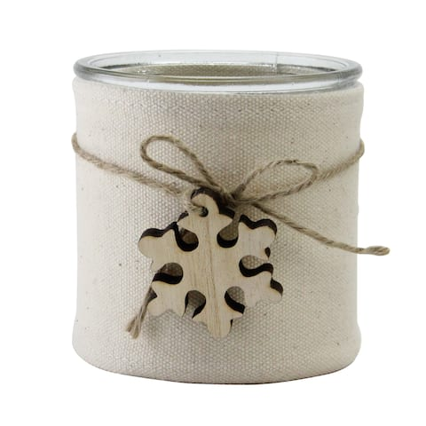 """4.25"""" Beige Burlap Wrapped Christmas Jar with Snowflake - N/A"""