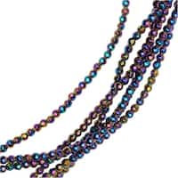 Hematite Gemstone Beads, Faceted Round 2mm, 6 Inch Strand, Metallic Rainbow