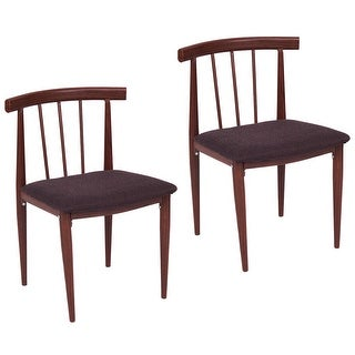 Costway Set Of 2 Dining Chairs Fabric Upholstered Armless Steel Home Dining kitchen