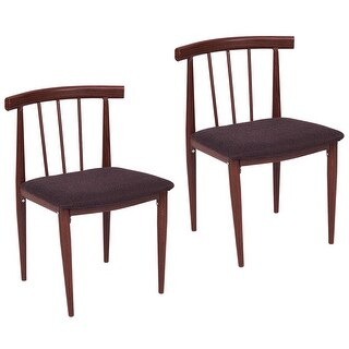 Costway Set Of 2 Dining Chairs Fabric Upholstered Armless Steel Home Dining kitchen - as pic