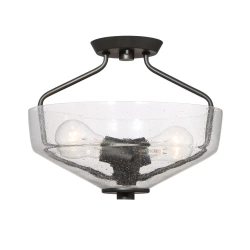 Designers Fountain 88011 Printers Row 2 Light Semi-Flush Mount Ceiling Fixture with Clear Seedy Glass Shade