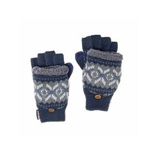 Muk Luks Gloves Mens Nordic Flip Top Faux Fur Accent O/S Blue 00