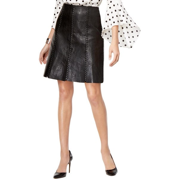 2242b3a3f3 Shop Grace Elements Womens Mini Skirt Faux Leather Whip Stitch - 10 - Free  Shipping On Orders Over $45 - Overstock - 26441575