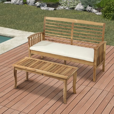 2-Piece Outdoor Wood Patio Conversation Set with Beige Cushions