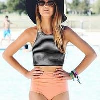 Womens Striped Swimsuit High Waisted Bikini Set