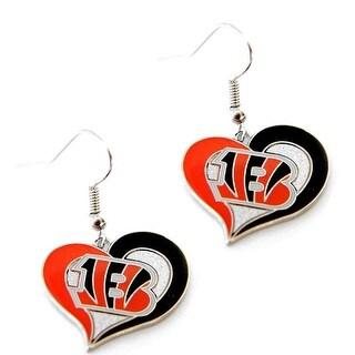 Bengals Swirl Heart Earring NFL Dangle Logo Charm Gift