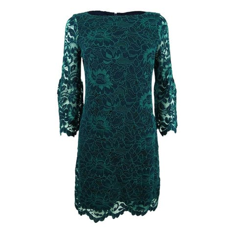 9ef2edd475f Jessica Howard Women s Bell-Sleeve Lace Dress - Navy Green