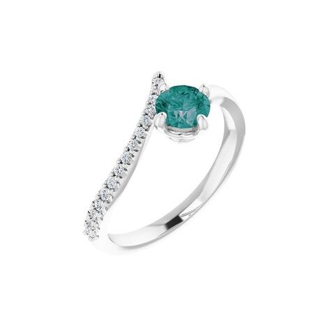 14K White Gold Lab-Grown Alexandrite and 1/10 Carat Diamond Bypass Ring for Women, Size - 7