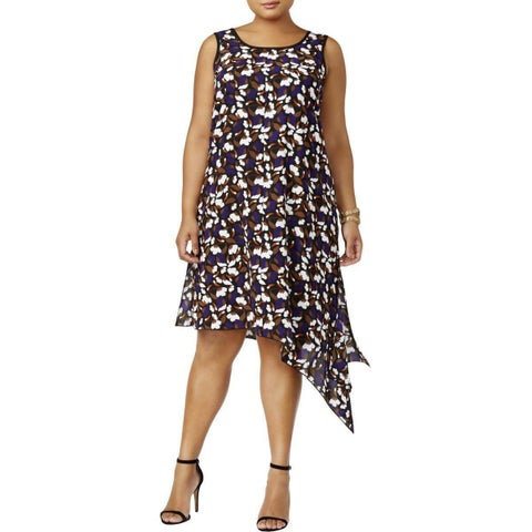 Anne Klein Purple Womens Size 1X Plus Asymmetric Floral Shift Dress