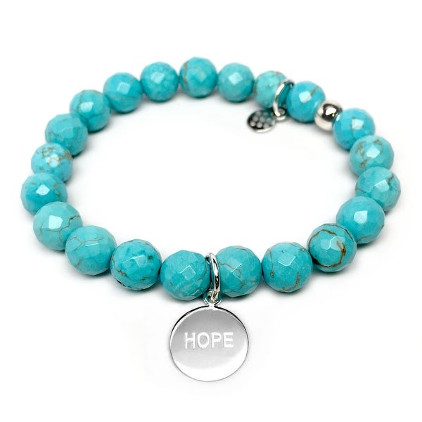 "Turquoise Magnesite Hope Charm Lucy 7"" Sterling Silver Bracelet"