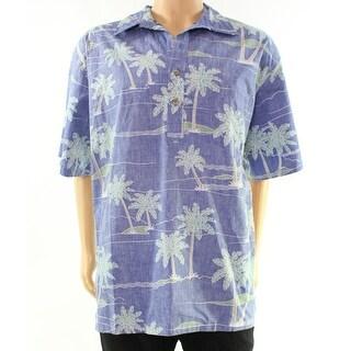 Ono & Company NEW Blue Palm-Tree Print Mens Size 2XL Button Down Shirt