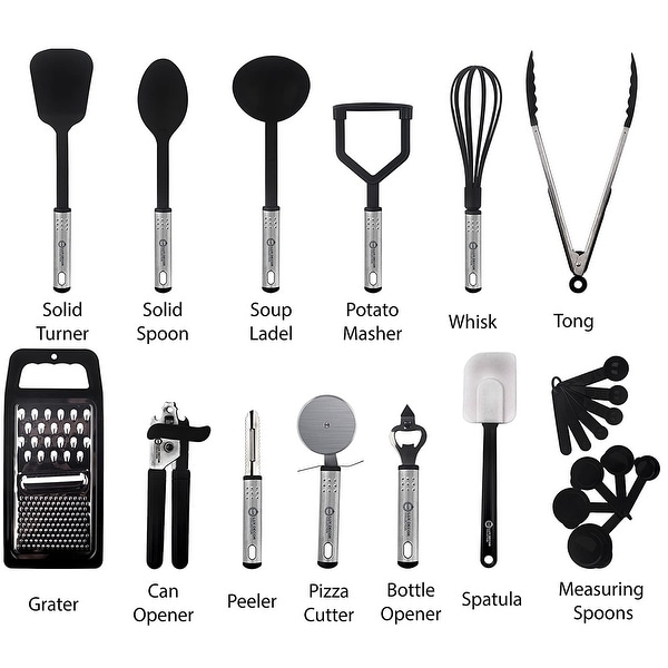 Stainless Steel Utensils Set For Heat Resistant Cooking (Set Of 23)