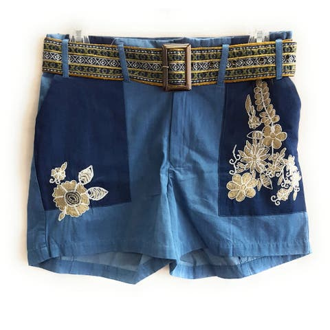 Desigual Denim Flower Tazza Shorts with Belt, Blue, Size Youth